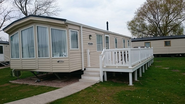 Outside the caravan (Willerby New Hampton, Butlins Minehead)